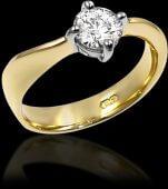 Unusual Gold Diamond Solitaire Ring