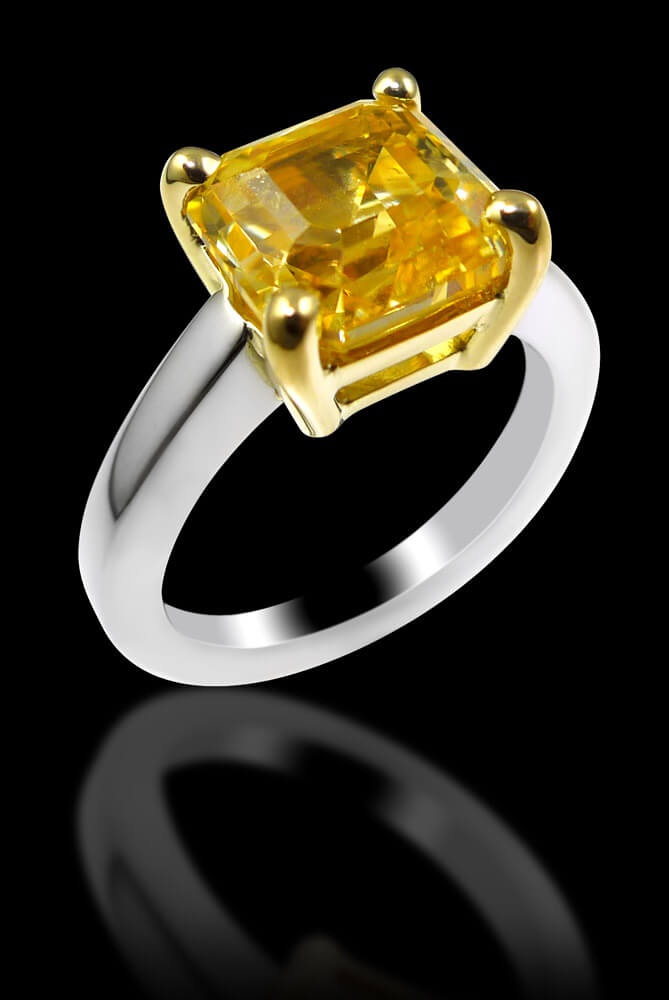 Yellow Sapphire wIth Yellow Gold Claw and Platinum Ring